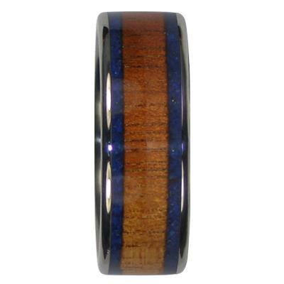 8 mm Dual Blue Lapis and KOA Wood in Titanium Model #7040