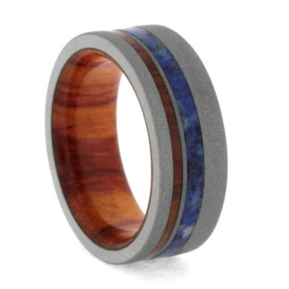 8 mm Tulipwood & Blue Box Elder with Sandblasted Titanium Model #3160