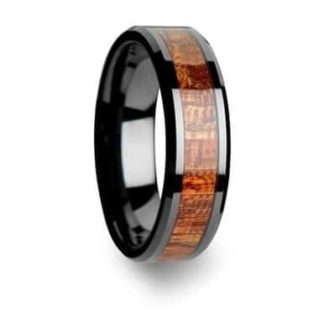 8 mm Black Tungsten with Bloodwood Inlay Model #1030