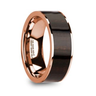 8 mm Ebony Wood Inlay in 14 Kt. Rose Gold Model #5800
