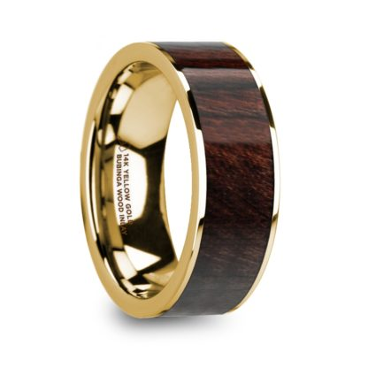 8 mm Bubinga Wood Inlay in 14 Kt. Yellow Gold Model #5815
