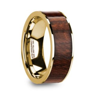 8 mm Carpathian Wood Inlay in 14 Kt. Yellow Gold Model #5825