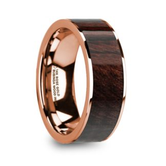 8 mm Bubinga Wood Inlay in 14 Kt. Rose Gold Model #5830