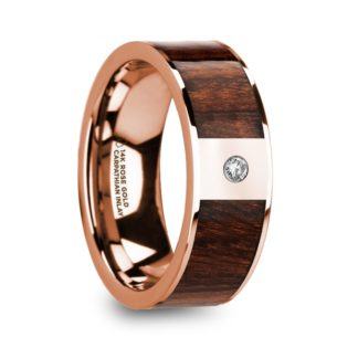8 mm Carpathian Wood & Diamond Inlay in 14 Kt. Rose Gold Model #5835
