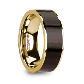 8 mm Ebony Wood Inlay in 14 Kt. Yellow Gold Model #5855