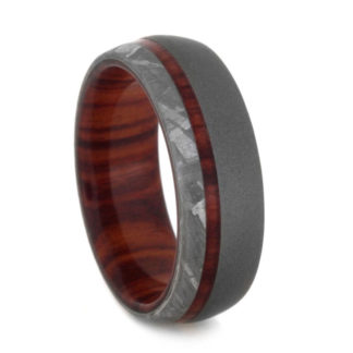 8 mm Ironwood & Meteorite Inlay in Sandblasted Titanium Model #3170
