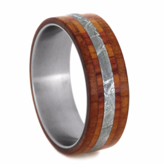 8 mm Ironwood/Cedar Wood & Meteorite Inlay in Titanium Model #3165