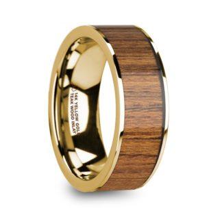 8 mm Teak Wood Inlay in 14 Kt. Yellow Gold Model #5870