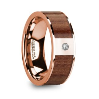 8 mm Rosewood & Diamond Inlay in 14 Kt. Rose Gold Model #5875