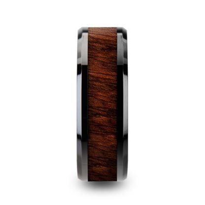 8 mm Carpathian Wood Inlay Beveled Edges in Black Ceramic Model #5140