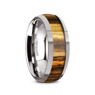 8 mm Zebra Wood Inlay Sloped Edges in Tungsten Model #5105