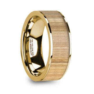 8 mm Ash Wood Inlay in 14 Kt. Yellow Gold Model #5890