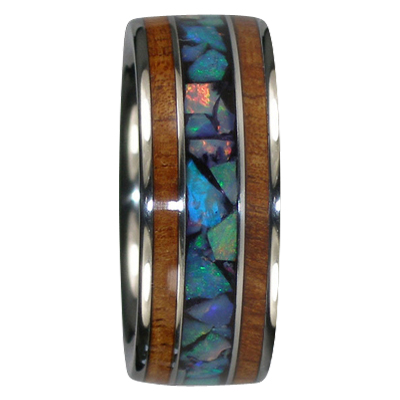 9 mm Blue Opal and KOA Wood in Titanium Model #7045