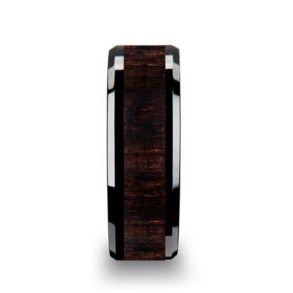 8 mm Ebony Wood Inlay Beveled Edges in Black Ceramic Model #5113