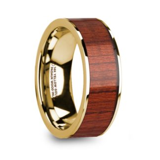 8 mm Padauk Wood Inlay in 14 Kt. Yellow Gold Model #5900