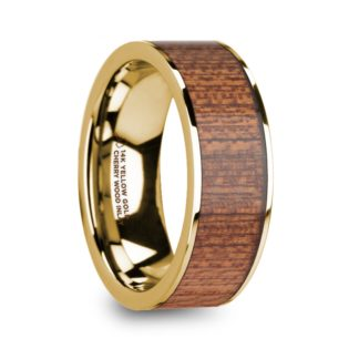 8 mm Cherry Wood Inlay in 14 Kt. Yellow Gold Model #5910