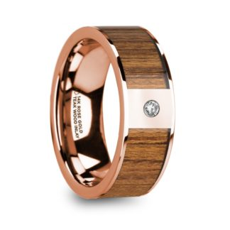 8 mm Teak Wood & Diamond Inlay in 14 Kt. Rose Gold Model #5915