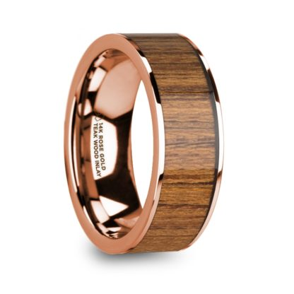 8 mm Teak Wood Inlay in 14 Kt. Rose Gold Model #5920
