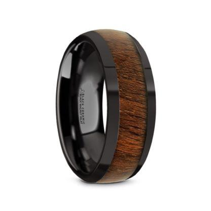 8 mm Black Walnut Inlay Sloped Edges in Black Ceramic Model #5115