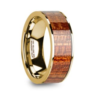 8 mm Mahogany Wood Inlay in 14 Kt. Yellow Gold Model #5930