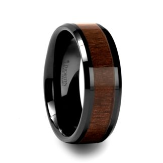 8 mm Black Walnut Wood Inlay Beveled Edges in Black Ceramic Model #5125