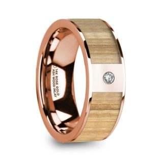 8 mm Ash Wood & Diamond Inlay in 14 Kt. Rose Gold Model #5935