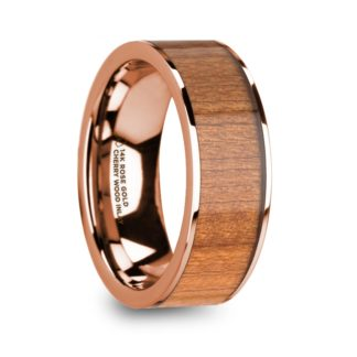 8 mm Cherry Wood Inlay in 14 Kt. Rose Gold Model #5940