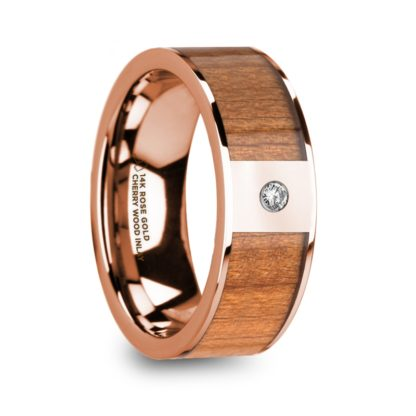 8 mm Cherry Wood & Diamond Inlay in 14 Kt. Rose Gold Model #5945