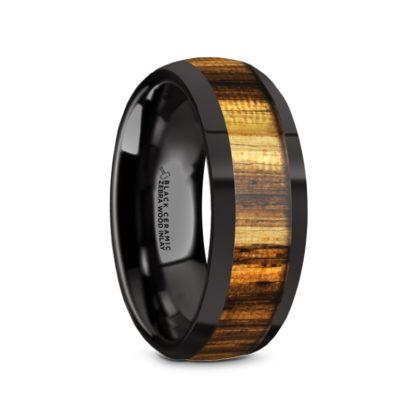 8 mm Zebra Wood Inlay Sloped Edges in Black Ceramic Model #5120