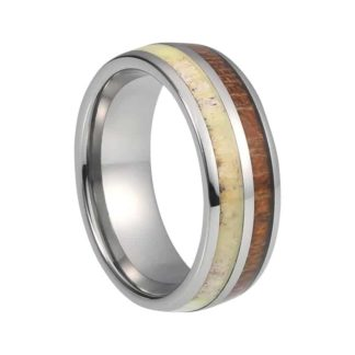 8 mm Domed Tungsten with KOA & Antler Inlay Model #1020