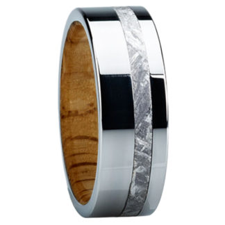 8 mm Oak & Meteorite Inlay in Titanium Model #3210