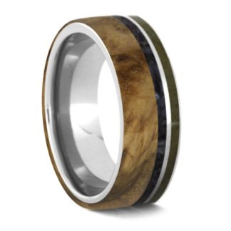 8 mm Black Ash Burl with Black Pearl & Topaz in Titanium Model #3290