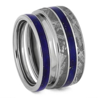 3 mm & 8 mm Meteorite Inlay Set with Lapis Lazuli in Titanium Model #3300