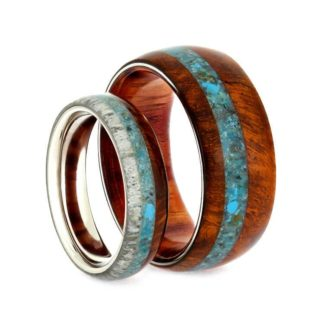 4.5 mm & 7 mm Turquoise Inlay Set with Amboyna & Antler in Titanium Model #3305