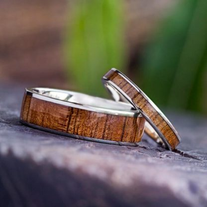 3 mm & 6.5 mm KOA Wood Inlay Set with 14 Kt. White Gold Model #3310