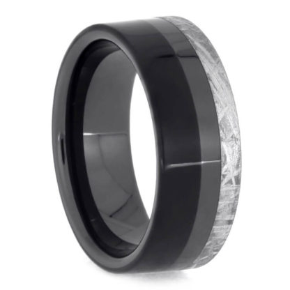 8 mm Ebony Wood & Meteorite Inlay in Black Ceramic Model #3530