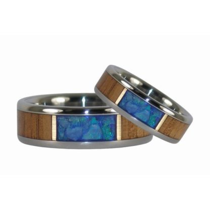 7 mm and 8 mm Fire KOA & Australian Opal in Titanium Model #7080