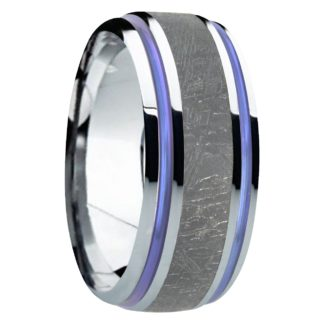 8 mm Black Meteorite Inlay & Dual Blue Inlays in Titanium Model #8015