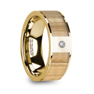 8 mm Ash Wood & Diamond Inlay in 14 Kt. Yellow Gold Model #5660