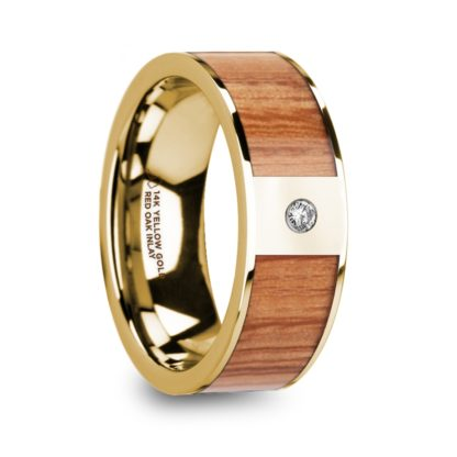 8 mm Red Oak Wood & Diamond Inlay in 14 Kt. Yellow Gold Model #5720