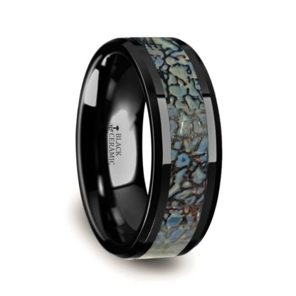 4 mm or 8 mm Dinosaur Bone Inlay in Black Ceramic Model #3760