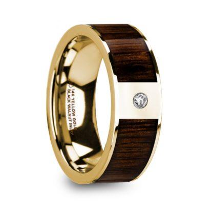 8 mm Black Walnut Wood & Diamond Inlay in 14 Kt. Yellow Gold Model #5735