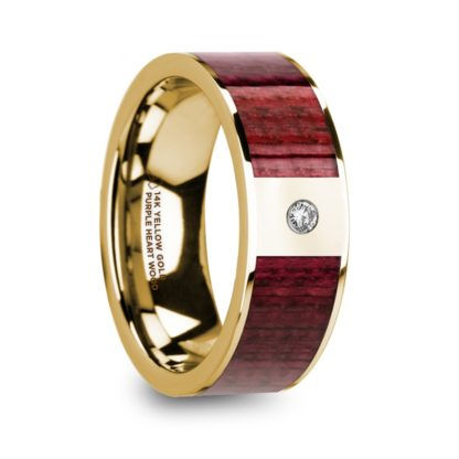 8 mm Purpleheart Wood & Diamond Inlay in 14 Kt. Yellow Gold Model #5755