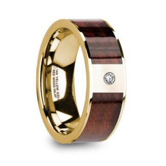 8 mm Red Wood & Diamond Inlay in 14 Kt. Yellow Gold Model #5765
