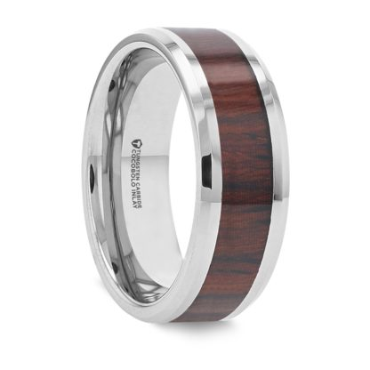 8 mm Cocobolo Wood Inlay Beveled Edges in Tungsten Model #5150
