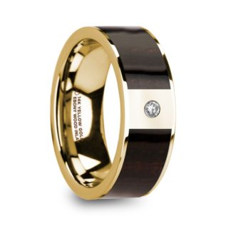 8 mm Ebony Wood & Diamond Inlay in 14 Kt. Yellow Gold Model #5805