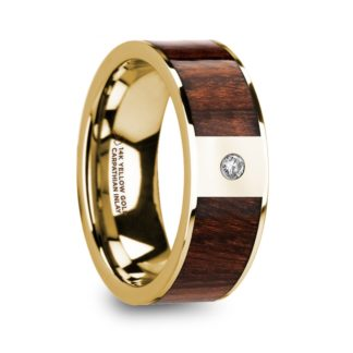 8 mm Carpathian Wood & Diamond Inlay in 14 Kt. Yellow Gold Model #5820