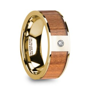 8 mm Sapele Wood & Diamond Inlay in 14 Kt. Yellow Gold Model #5845