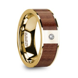 8 mm Rosewood & Diamond Inlay in 14 Kt. Yellow Gold Model #5850