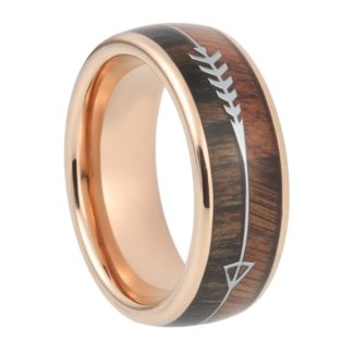 8 mm KOA/Zebra Wood Inlay & Arrow Design with Rose Gold Sleeve in Tungsten Model #1045